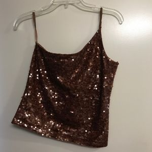 NWT Express | Brown One Shoulder Sequence Blouse M